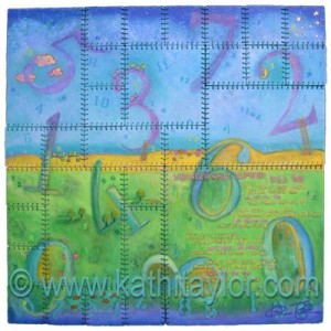 """Art and Poem by Kathi Taylor, 2007 Acrylic on Wood with Cotton Cording, 32"""" x 32"""""""