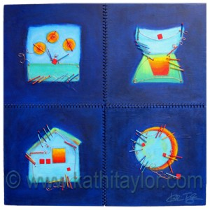 """2007, Mixed Media on Wood with Satin Cording, 32"""" x 32"""""""