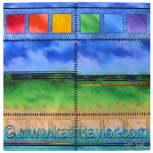 "2007, Acrylic on Wood with Satin Cording, 32"" x 32"""